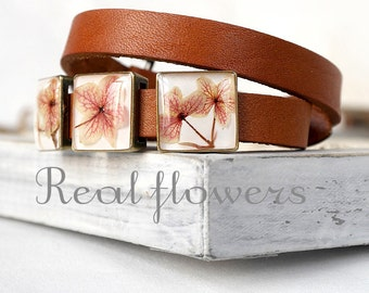 Unique gift idea for birthday for her Flower jewelry for sister Bangles Boho bracelet Unique bracelet Flower bracelet Wrap leather bracelet