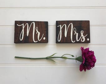 Mr Mrs Wedding Chair Signs- reclaimed wood sign, reclaimed wood wall art, home decor, reclaimed wood, wood sign, wedding chair sign