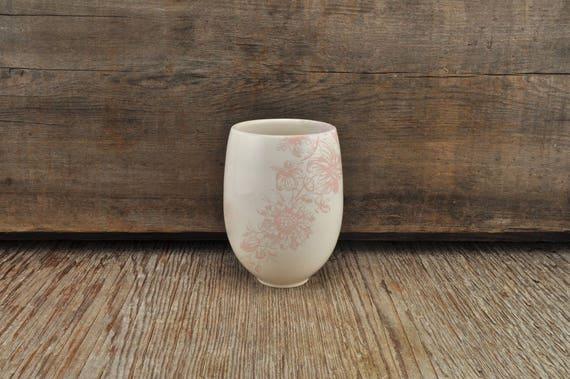 Porcelain wine tumbler with vintage pink flower illustration