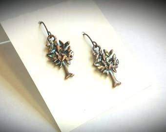 Colorful Abstract Alcohol Ink Metal Tree Earrings, Rustic Artisan Designer Outdoor Multicolored Silver and Copper Jewelry.
