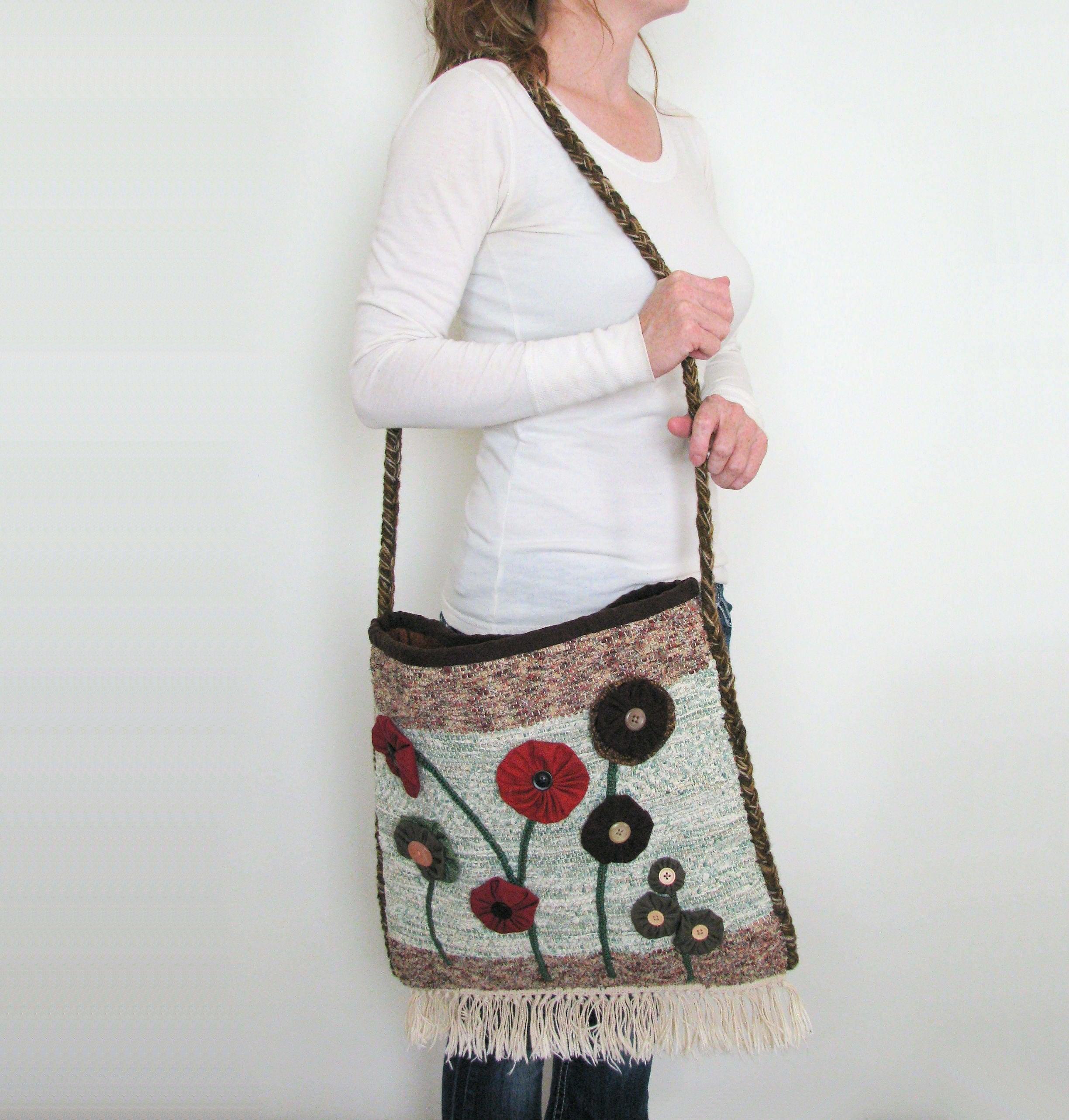 Upcycled Crossbody Bag Handwoven Rag Rug Flowered Purse