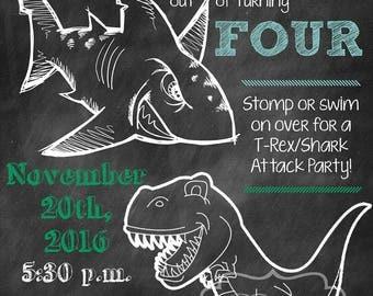 T-Rex/Shark Attack Birthday Party Invitation