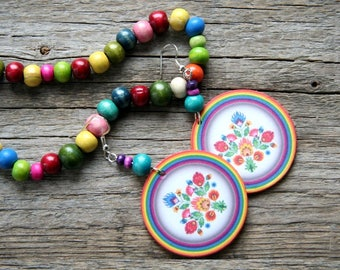 Polish folk earrings, Polish folk art, Polish earrings, Rainbow earrings, Floral rainbow, polish floral earrings, polish folk flowers