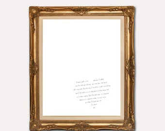 Wedding Vows Print - custom wedding vows art print - home decor - Printable - Wall Art - Calligraphy