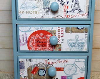 SOLD! - Vintage Aqua Drawer Unit - 3 drawers with Decoupaged French Travel Theme