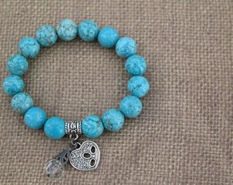 Bead Bracelet / Turquoise Bracelet / Heart Bracelet / Charm Bracelet