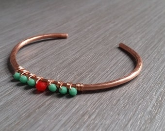 Delicate Hammered Copper Cuff, Bangle, Bracelet, Turquoise, Red