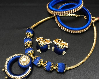 Royal Blue Silk Jewelry - Indian Silk Thread Set - Indian Jewelry Set - Silk Bangles - Bollywood Jewelry - Jhumka Earrings - Indian Bridal -