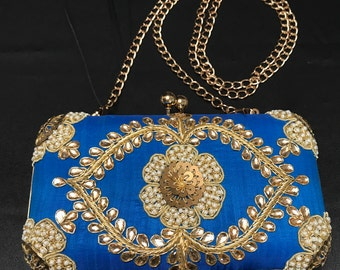 Indian Accessories - Indian Purses - Indian Clutch - Indian Bridal Clutch - Evening Purse - Blue Clutch Purse - Gold Embroidered Purse -