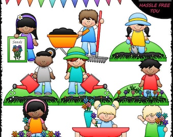 Planting Flowers Clip Art and B&W Set