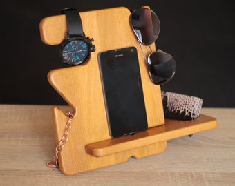 Docking station  Gift him Charging station Iphone dock Iphone stand -  Free personalization