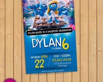 Smurfs invitation | Smurfs birthday | Smurfs party | Smurfs movie 2017 Printable invitation | Smurfs invitation card | Smurfs birthday card
