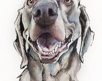 CUSTOM PET PORTRAIT - watercolor and ink illustration or your pet - dog cat custom gift art