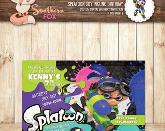 Splatoon Birthday Invitation Boy Inkling- Custom Digital Birthday Invitation 4x6 Splatoon Boy Inkling Birthday