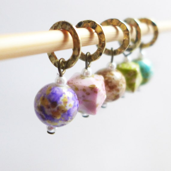 Dreaming of Spring - Five Handmade Stitch Markers - Fits Up To 6.5mm (10.5 US) - Limited Edition