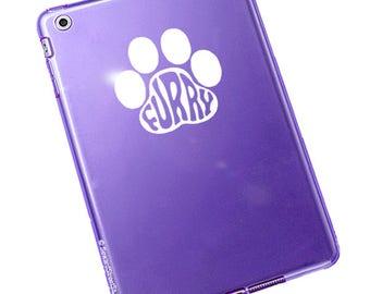 "Furry Paw Print Decal / Furry Print Laptop Sticker / Furry Fandom Laptop Decal / Furry Dog Print Car Sticker / 3.25""h x 3.50""w / #659"
