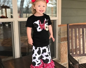 Cowgirl / Boutique Ruffle Pants or Shorts /  Cow Print / Red Bandana / Western / Rodeo / Newborn / Baby / Girl / Toddler / Boutique Clothing