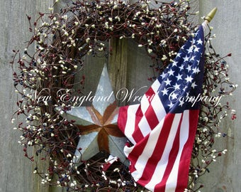 Americana Wreath, Patriotic Wreath, 4th of July Wreath, Memorial Day Wreath, Military, Primitive Patriotic, Summer Wreath, Flag Wreath