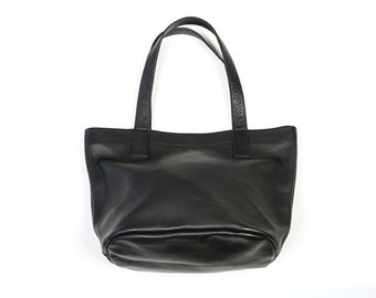 MILA Small Black Leather Purse. Black Leather Bag. Black Purse. Small Tote Handbag
