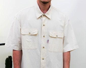 Cream Thick Cotton Short Sleeve Shirt Size Large