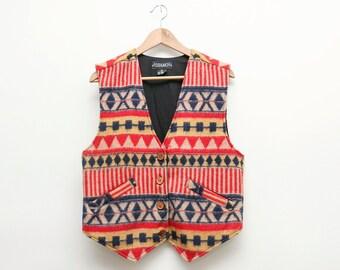 Printed Wool Campfire Vest Folk Ethnic Heritage Print Ikat Geometric 90s Button Down Waistcoat