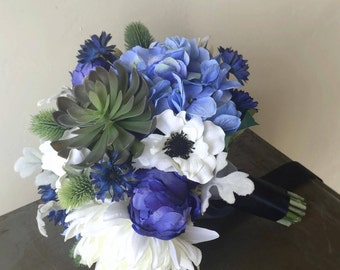 Succulent Blue Wedding Bouquet with Dahlia, Hydrangea, Cornflower, Anemone, Thistle, Echeveria, Peony Buds - Blue Silk Wedding Flowers