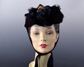 Victorian Bonnet 1800s Early Women's Hat Black Velvet - Silk Flowers and Tremble Beads - Antique Accessories