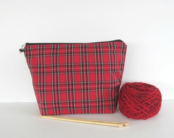 Knitting project bag, crochet yarn bag, zipper wedge Red tartan plaid pouch in 2 sizes - Knitters Gift or Men's Toiletry Bag