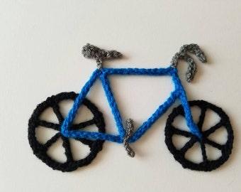 """1pc 5"""" Crochet BLUE BICYCLE Applique"""