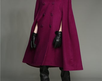 Wool Coat Cloak In Purple, 100% Cashmere Wool Coat, Double Breasted Wool Jacket, Military Wool Cape Cloak, Hooded Coat, Wool Poncho, Winter