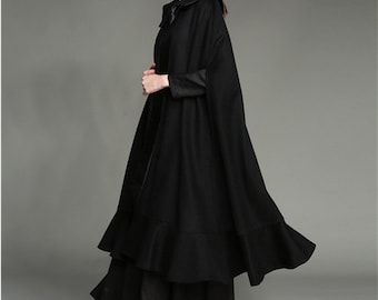 Flared Cashmere Wool Cloak in Black, 100% Wool maxi poncho, Ruffle Coat Jacket, High End Cocktail Cape Coat, Long cashmere cloak, flaterring