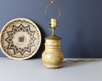 Vintage mid century lamp, ceramic lamp, stoneware lamp