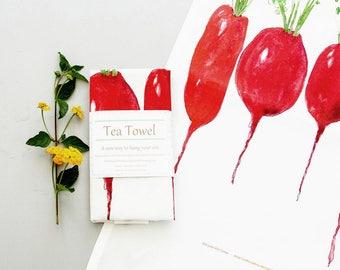 Radish, Original art dish towel, farm to table watercolor art print,  Simple kitchen, tea towel, country kitchen decor, housewarming gift