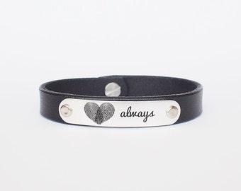 Personalized Leather Bracelet for men / Mens Bracelet / Fingerprint Bracelet / Actual Handwriting Bracelet  / Father's Day Gift / LB02