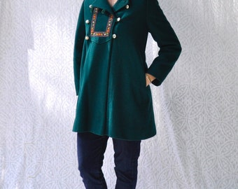 Vintage Wool Swing Coat || Mod Day Coat w. Furry Lining || Vintage Hippie Coat with Hood || Retro Bohemian Green Wool Coat || Fit Small. XS
