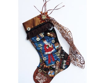 Dad Christmas stocking, a custom handmade one-of-a-kind holiday decoration for a man or father