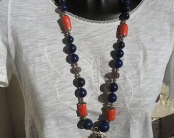 Necklace - pendant ethnic lapis, coral.