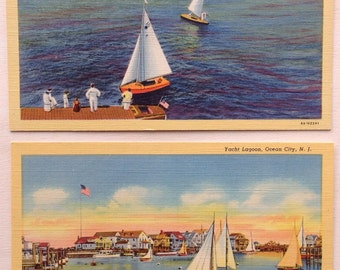 Ocean City, NJ, Vintage Postcards,  Sailboats, lot of two, Great Egg Harbor Bay, Yacht Lagoon, Linen 1938, New Jersey art
