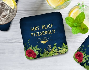 The ALICE . Escort Card Coasters . Art Deco 1920s Gold Red Rose Garland Navy Chalkboard . Wedding Seating Place Card Guest Names & Tables