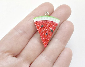 2 Watermelon Charms - Watermelon Pendants - Resin - Watermelon - Double Sided - #PR006