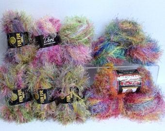 Libra Designer Yarn Lion Fun Fur Bernat Eye Lash Multicolor Fancy Yarn Bundle Colorful Variegated Yarn Destash Textured Fibre Art Supply