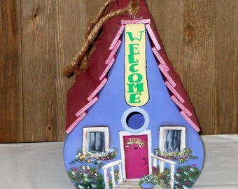 Handmade birdhouse,Hand Painted birdhouse, Whimsical birdhouse,Purple birdhouse, Toll birdhouse, Birdhouse,