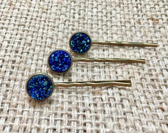 Blue Druzy Hair Pin, Druzy Hair Pin, Metallic Hair Pin, Druzy Hair Barette, Faux Druzy Hair Pin, Gemstone Hair Pin, Druzy Bobby Pin