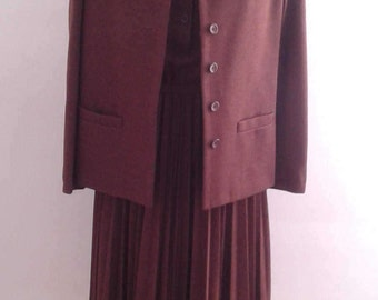 Vintage 1970's Butte Knit Brown Shirt Dress Accordion Pleat Skirt Jacket Set Suit Sz Small Med Ladylike Minimalist