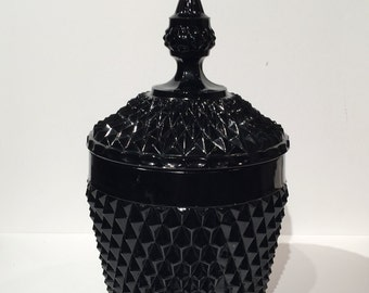 Tiara Black Glass Cameo Canister, Glass Cookie Jar with Lid, Indiana Glass