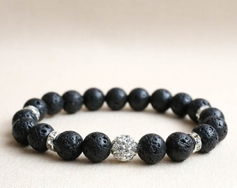 Black Lava Bracelet, Lava Bracelet Women, Women Beaded Bracelet, Beaded Bracelet Women, Lava Stone Bracelet, Lava Rock Bracelet