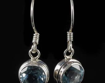 3cm BLUE TOPAZ Earrings - Sterling Silver & Natural Topaz Crystal Jewelry - Faceted Gemstone and Silver Earrings - Blue Topaz Jewelry J998
