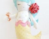 Handmade Mermaid Doll | Pink Yellow Aqua | Stars | Birthday Present Girl | Girl Gift | Mermaid Toy | Girl Doll | Valentine Gift Girl