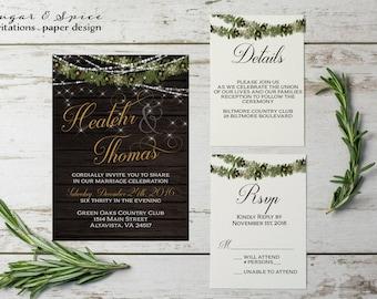 Elegant Winter Wedding Invitation, Christmas Wedding Invitation, Rustic Wedding  Invitation, Wedding Invitation   Printable