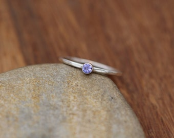 Tanzanite Stacking Ring - Glossy Finish, 1.3 mm band, 3 mm Tanzanite Gem - Argentium Ring - Tanzanite Skinny Ring - Silver Tanzanite Ring